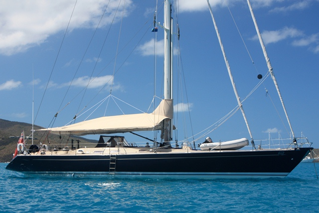 PACIFIC WAVE at anchor available for Caribbean yacht charters.