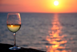 white wine sunset