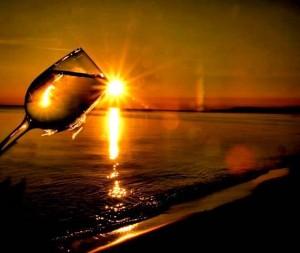 wine tilt sunset